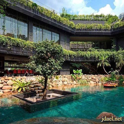 مباني وحدائق وشوارع بمؤثرات هندسية للمناظر الطبيعية