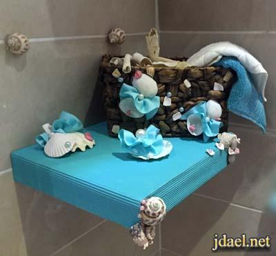 اكسسوار الحمام الصغير بالصدف والحجر الجيري واحجارالسيراميك