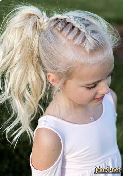 تسريحات شعر بنوتات اطفال تسريحات الشعر المفتوح والكعكة والضفاير