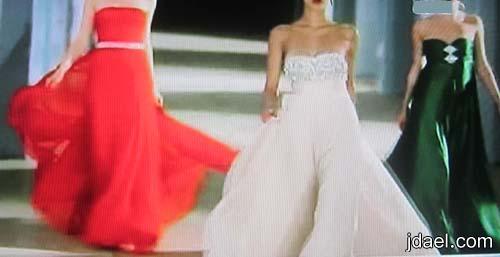 جديد ازياء تصاميم المصمم توفيق حطب لفساتين السهرات بقماش الدانتيل