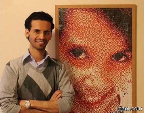 شاب سعودي يدخل موسوعة غينيس لعمل لوحة موناليزا نجران الخرز