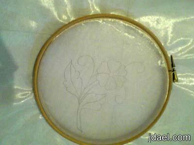 خطوات الرسم على قماش الاورجانزا بالوان الحرير بالصور