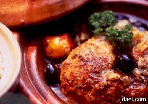 طريقة عمل طاجن الدجاج بالزعفران الفرن المطبخ المغربي