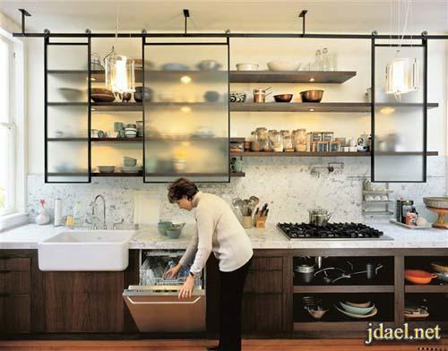 ديكور واكسسوار مطابخ بالزجاج والخشب للبيوت الفخمة