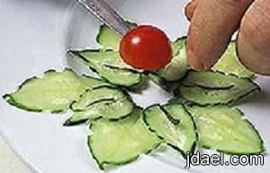 فنيات مبتكره في تزيين اطباق الطعام من الخضار والاجبان بالصور