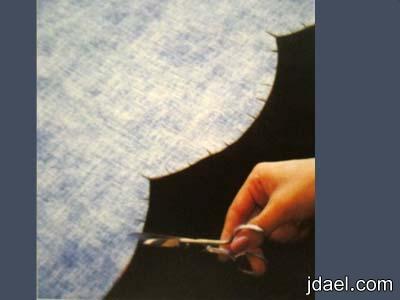خياطة غطاء الستاره العلوي بتضريب وكيفية تشكيل الحافة السفليه