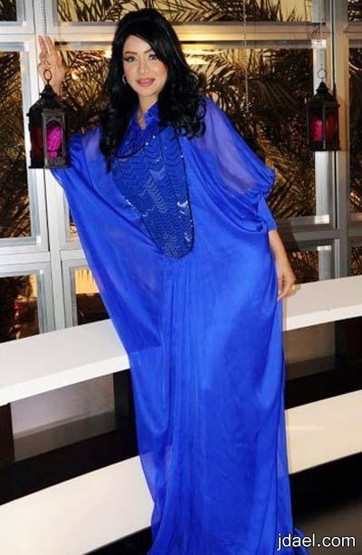 موديلات جلابيات وفساتين المذيعه لجين عمران