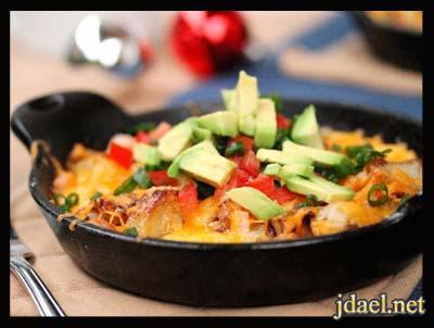 صينية بطاطس بالبيض وجبن شيدر الفرن