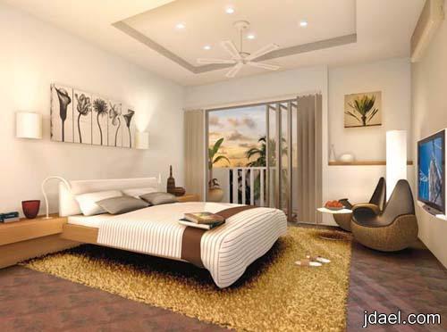 صور ديكورات غرف النوم باجمل ديكور توزيع الاضائه لاسقف الجبس