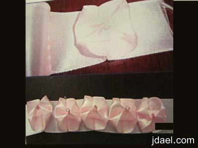 استخدام الشرائط الستان بشكل الكلف تزيين الخداديه تطريز الشريطه