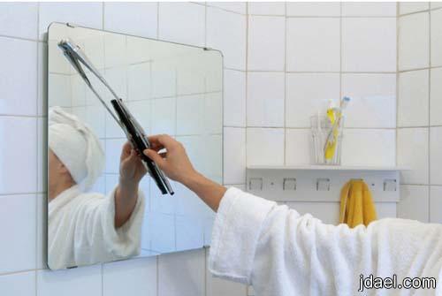 استخدام مساحة زجاج السياره في ازالة بخار الماء من مرايا الحمام