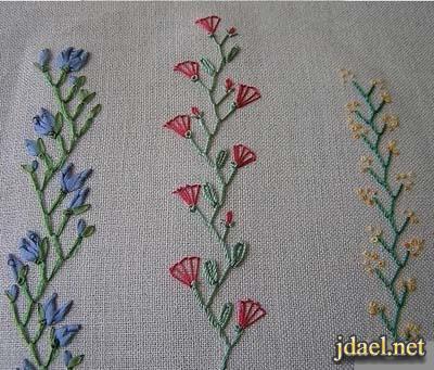 غرز تطريز بخيوط الحرير روعه للملابس والمفارش بالصور