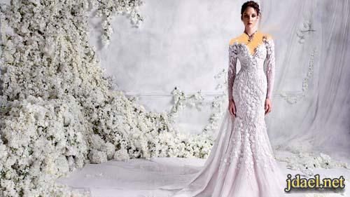 فساتين زفاف للعروسة برومنسية التور المشغول واناقة الدانتيل تصميم رامي