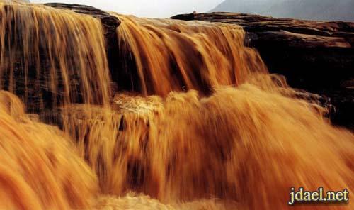 صور شلال هوكو الشلال الوحيد باللون الاصفر العالم