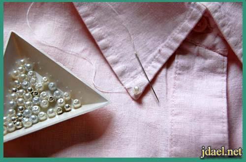 تجديد القميص القديم بتطريزالكوله باللؤلؤ الذهبي والفضي بالصور