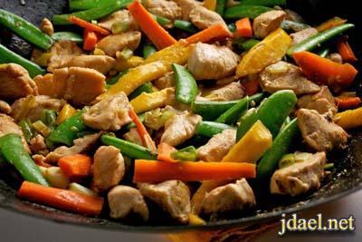 طبخ صحي وشهي صدور دجاج وشرائح الخضار بطريقة صحية