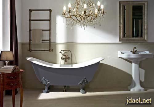 حمامات عصريه باللون الابيض والرمادي
