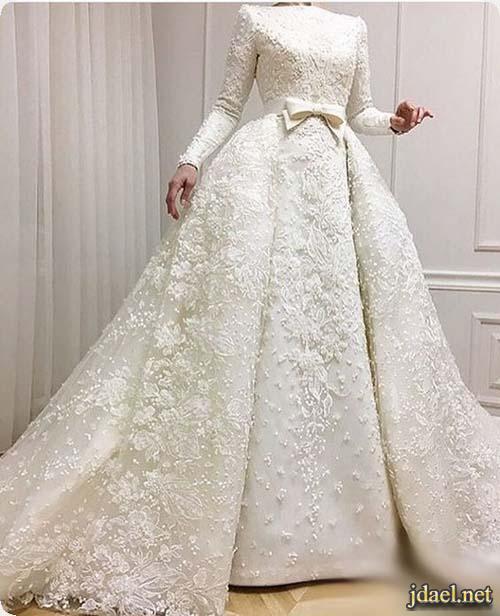 فساتين زفاف دانتيل بموديلات الحجاب للعرايس المحجبات