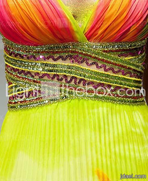 فساتين الحرير والشيفون المشجر المطرزه بالترتر وموديلات البلاسيه للسهرات