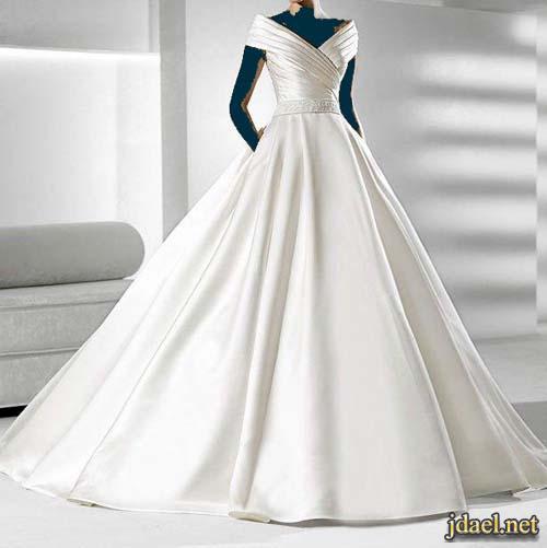 فساتين زفاف للعروسة دانتيل ابيض مطرز بتفريغ ورد الدانتيل