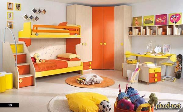 ديكورات غرف نوم بالوان جذابه للاطفال بنات واولاد