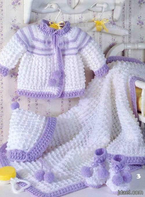 اطقم للبيبي بالكروشيه ملابس اطفال كروشيه 2012