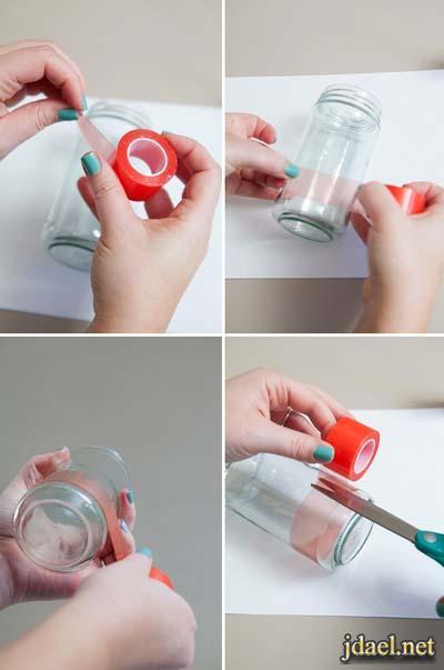 مهارات يدويه تزيين برطمانات الزجاج بمادة الجليتر بالصور