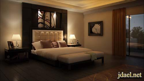 غرف نوم عرسان ديكور كلاسيك ومودرن وخلفيات السرير بالجلد والخشب