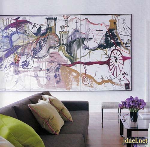 ديكور باللون الرمادي ودرجاته في غرفة الجلوس مع الالوان الزاهيه