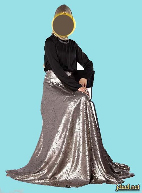 فساتين ترتر محجبات ولفات حجاب روعة فساتين سهرة باقمشة قشور