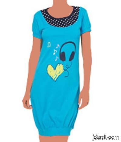 ملابس النوم بموديلات قمصان نوم قطنيه قصيره للبنات
