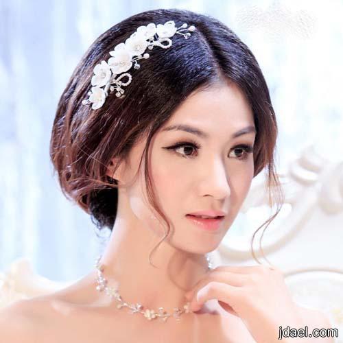 اكسسوار شعر العروسه ربطات دانتيل تطريز لولو واطواق ورد وكرستال