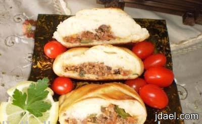 جديلة اللحم بالجبن فطيره باللحم المفروم منقوشه ضفيره باللحم