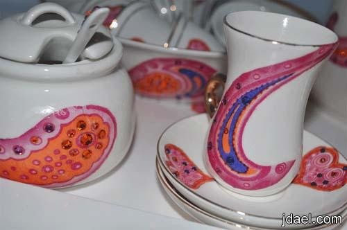 ابتكارات يدويه الطباعه على اطقم الشاي الصيني لمبدعات الامارات