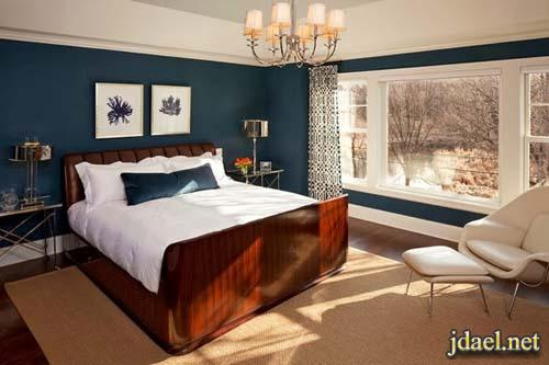 ديكور غرف نوم باللون الازرق ودرجاته وتداخل الالوان