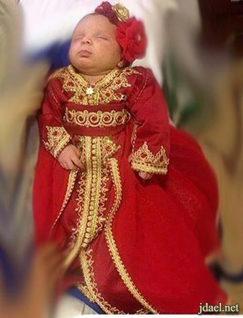 موديلات اللباس المغربي تطريز فخم للبيبي حديثى الولادة