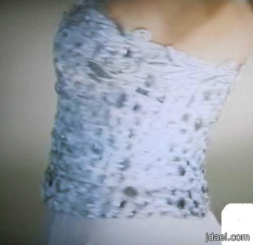 جديد ازياء تصاميم المصمم توفيق حطب لفساتين السهرات بقماش الدانتيل المشكوك 2013