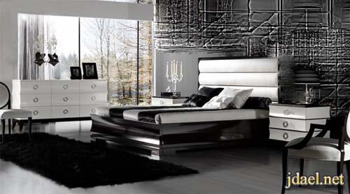 ديكور غرف نوم ايطالي وتركي باللون الابيض والاسود