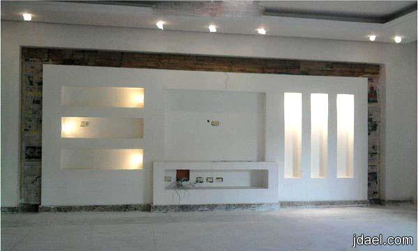 تصاميم جبس لشاشة البلازما والتلفزيون وافخم الرفوف للجدار لغرفة المعيشه