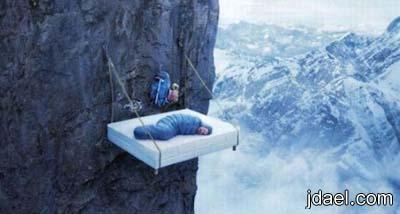 صور غريبه في حالات النوم لهواة وعشاق تسلق الجبال
