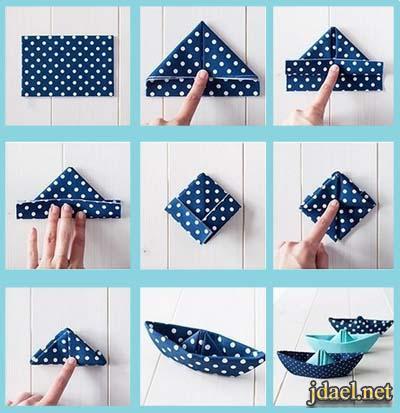 خطوات خياطة فيكه مناديل لتزيين طاولة الطعام بالصور