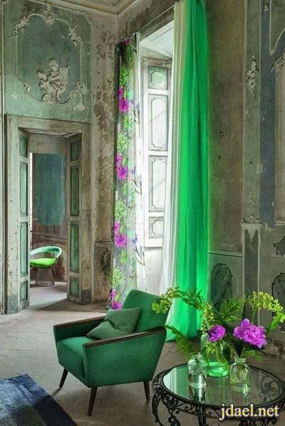 ديكور غرف استقبال وغرف معيشة باللون الاخضر للبيوت العصرية