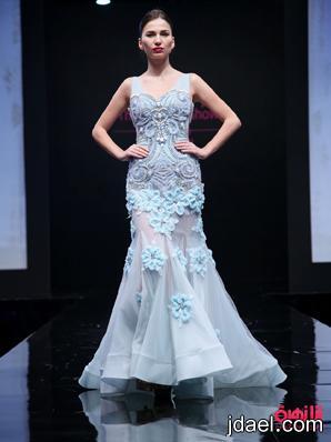 موديلات لفساتين السهرات بالتطريز والورد البارز ومختلف الاقمشه