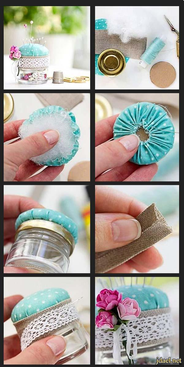 اعمال يدوية تزيين اغطية العلب الزجاج بفكرة روعة وسهل