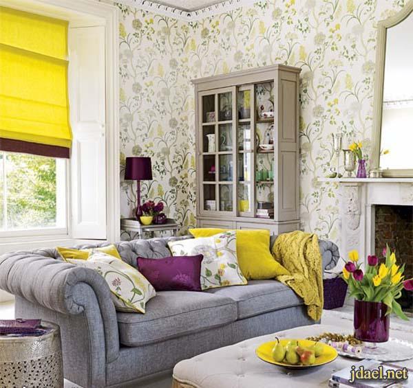 ديكور غرف استقبال ومعيشه باللون الاصفر والرمادي والابيض   منتدى جدايل