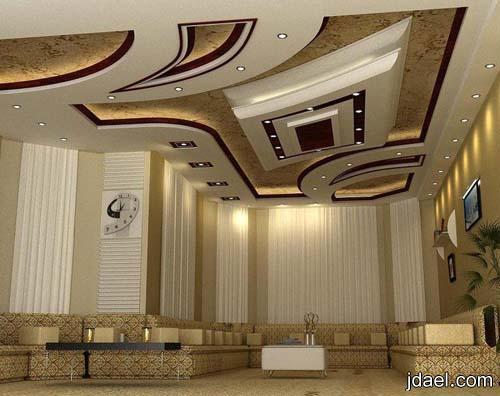 ديكورات جبس اسقف بتصاميم هندسيه للمجالس وغرف الاستقبال