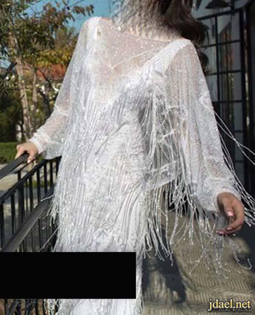 فساتين زفاف للعروسه بالخيوط المنسدله المطرزه ترتر لمعه