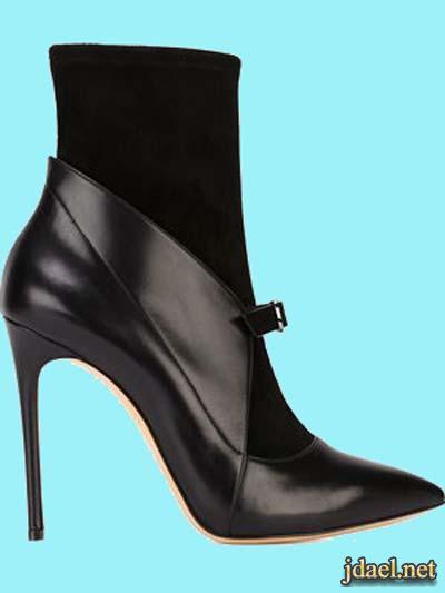 احذية نسائية كعب عالي رقبة عالية جلد ومخمل اشيك الماركات