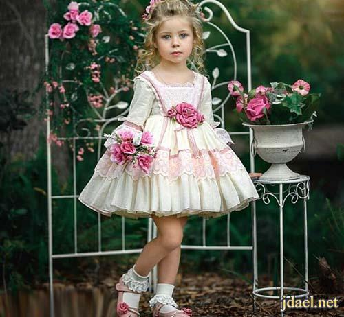 فساتين بنات اطفال لاناقة بجديد موديلات الدانتيل والاقمشة الراقية
