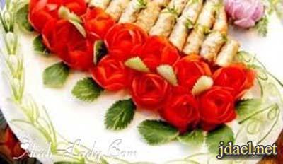 تزيين المقبلات والاطباق الرئيسيه والحلويات الحفلات